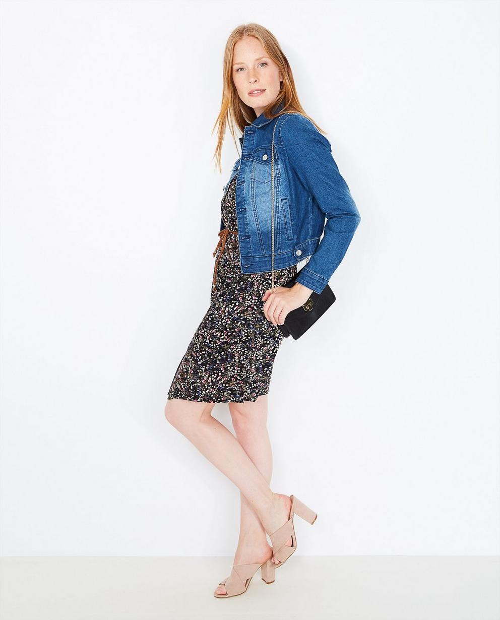 Veste en jeans délavée - et fleurs brodées - JBC